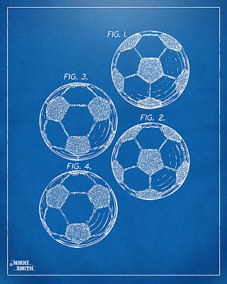 1964 Soccerball Patent Artwork - Blueprint Poster by Nikki Marie Smith