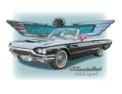 1964 Thunderbird Sport Roadster Poster by Dan Knowler