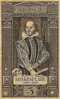1964 William Shakespeare Postage Stamp Poster by David Patterson