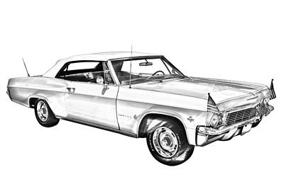 1965 Chevy Impala 327 Convertible Illuistration Poster by Keith Webber Jr