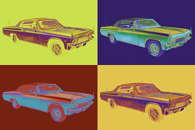 1965 Chevy Impala 327 Convertible Pop Art Poster by Keith Webber Jr