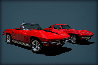 Poster featuring the photograph 1965 Corvette Convertible And 1964 Corvette Stingray by Tim McCullough