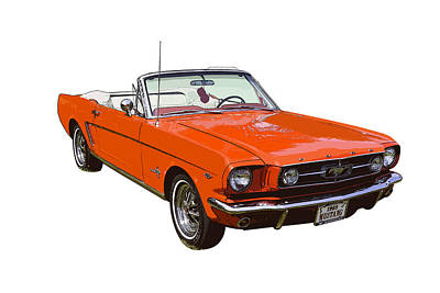 1965 Red Convertible Ford Mustang - Classic Car Poster