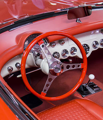 1965 Sting Ray Corvette Cabin And Steering Wheel Poster