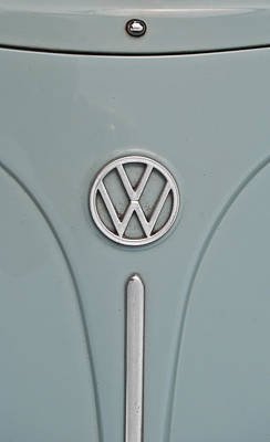 Poster featuring the photograph 1965 Volkswagen Beetle Hood Emblem by Jani Freimann