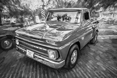 1966 Chevy C10 Pick Up Truck Painted Bw Poster by Rich Franco