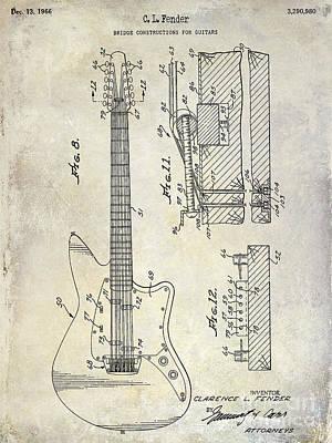 1966 Fender Guitar Patent Drawing  Poster by Jon Neidert