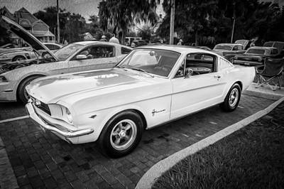 1966 Ford Mustang 2 Plus 2 Painted Bw Poster by Rich Franco