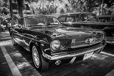 1966 Ford Mustang Convertible Painted Bw    Poster by Rich Franco