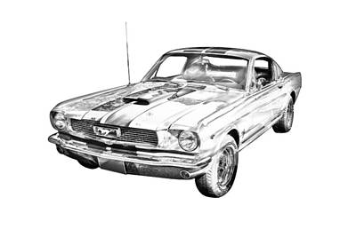 1966 Ford Mustang Fastback Illustration Poster by Keith Webber Jr