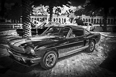 1966 Ford Shelby Mustang Hertz Edition Bw Poster by Rich Franco