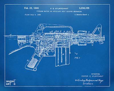1966 M-16 Gun Patent Blueprint Poster by Nikki Marie Smith