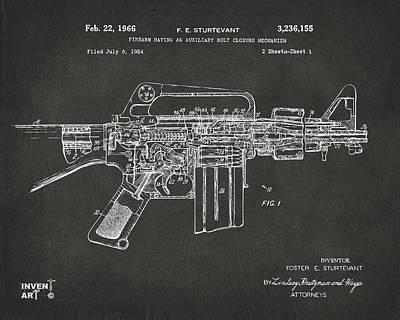 1966 M-16 Gun Patent Gray Poster