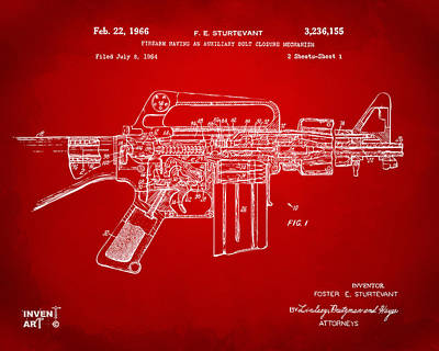 1966 M-16 Gun Patent Red Poster by Nikki Marie Smith