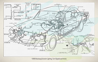 1966 Mustang Exterior Lighting Turn Signals And Horns Poster by Don Kuing