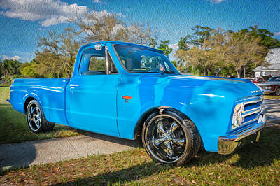 1967 Chevy Silverado Pick Up Truck Painted Poster by Rich Franco