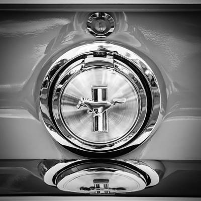 1967 Ford Mustang Gas Cap Emblem -0053bw Poster by Jill Reger