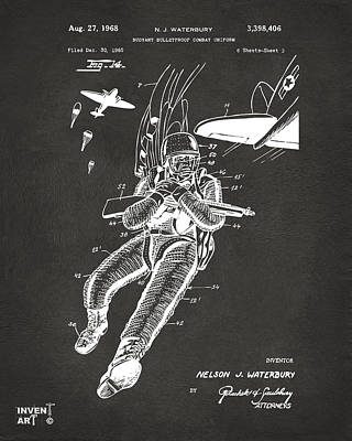 1968 Bulletproof Patent Artwork Figure 14 Gray Poster