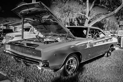 1968 Dodge Charger The Bullet Car Bw Poster by Rich Franco