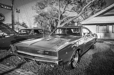 1968 Dodge Charger The Bullit Car Bw Poster by Rich Franco