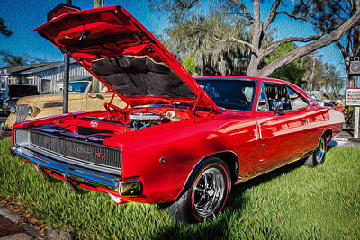 1968 Dodge Charger The Bullit Car Painted Poster by Rich Franco
