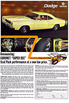 1968 Dodge Coronet Super Bee Poster by Digital Repro Depot