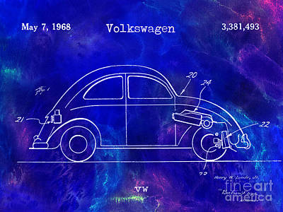 1968 Vw Patent Drawing Blue Poster by Jon Neidert