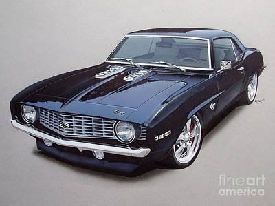 1969 Camaro Ss Custom Poster by Paul Kuras
