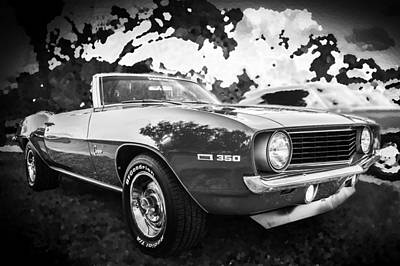 1969 Chevrolet Camaro 350 Convertible  Bw Poster by Rich Franco