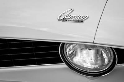 1969 Chevrolet Camaro Emblem -0236bw Poster by Jill Reger