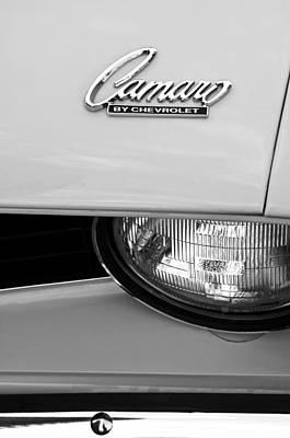 1969 Chevrolet Camaro Emblem -0241bw Poster by Jill Reger