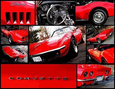 1969 Chevrolet Corvette Stingray Pop Art Collage 1 Poster by Aurelio Zucco