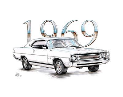 1969 Ford Fairlane - Torino Cobra Poster by Shannon Watts
