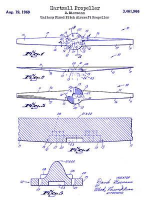 1969 Hartzell Propeller Patent Blueprint Poster by Jon Neidert