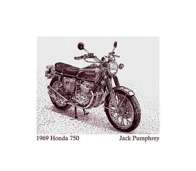1969 Honda 750 Poster by Jack Pumphrey