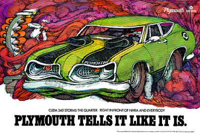 1969 Plymouth 'cuda 340 Poster by Digital Repro Depot
