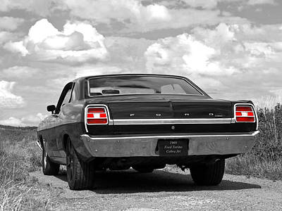 1969 Torino Cobra Jet On A Country Road Poster by Gill Billington