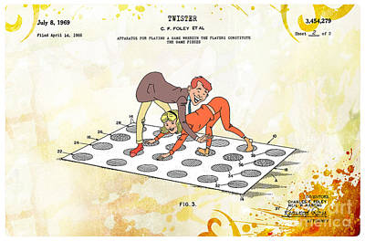 1969 Twister Patent Art 2 Poster by Nishanth Gopinathan