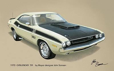 1970 Challenger T-a Dodge Muscle Car Classic Poster by John Samsen