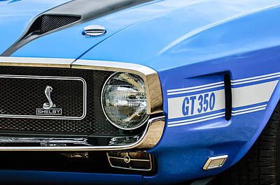 1970 Ford Mustang Convertible Gt350 Replica Grille Emblem Poster by Jill Reger