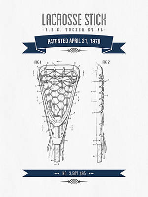 1970 Lacrosse Stick Patent Drawing - Retro Navy Blue Poster by Aged Pixel