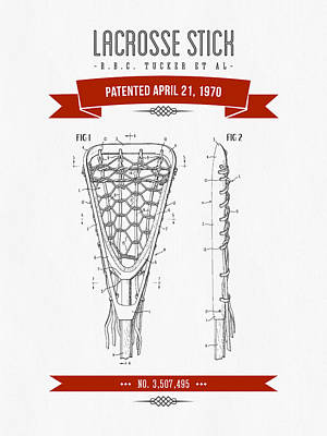 1970 Lacrosse Stick Patent Drawing - Retro Red Poster by Aged Pixel