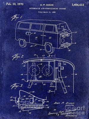 1970 Vw Patent Drawing Blue Poster