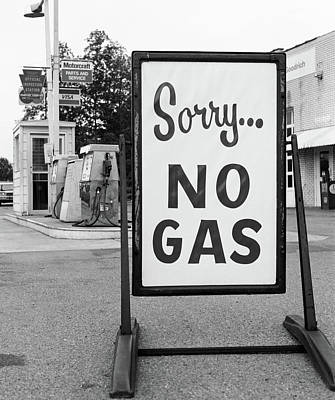 1970s 1973 Sorry No Gas Sign Beside Gas Poster