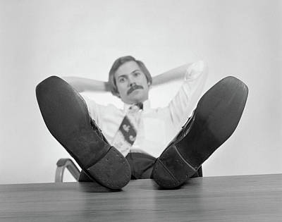 1970s Businessman Sitting Feet Poster