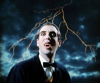 1970s Dracula Vampire Character Looking Poster