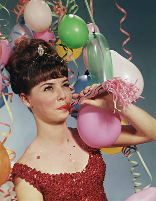1970s Woman Party Balloons New Years Poster