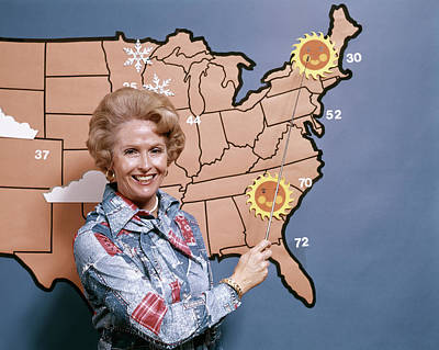 1970s Woman Reporting Weather Pointing Poster