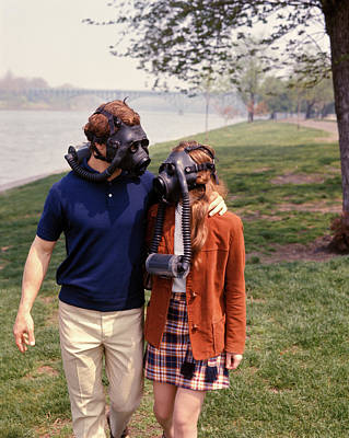 1970s Young Couple Man Woman Wear Gas Poster