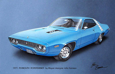 1971 Roadrunner Plymouth Muscle Car Sketch Rendering Poster